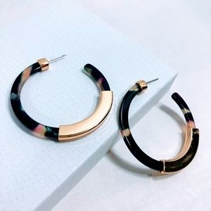 Jewelry - New - Acrylic Hoop Earrings - Dark Blue
